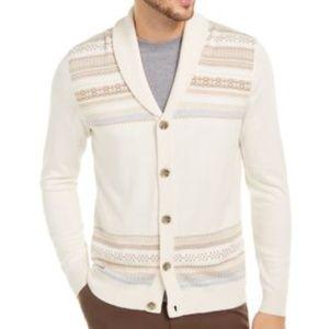 Tasso Elba Men's Geo-Stripe Intarsia-Knit Cardigan